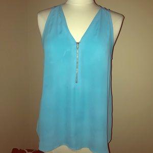 Zip up blouse, blue